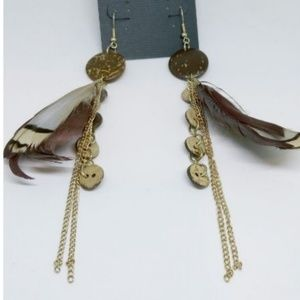 ✨Dangle Earrings Feather Gold Chainlink Wooden 955